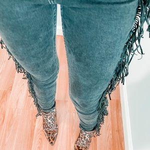 Fringe black skinny jeans